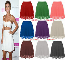Ladies Floral Lace Skater Skirt Women High Waist Flare Mini Skirt Plus Size 8-22