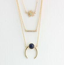 14K Gold Plated Three layers Inlay Lapis lazuli Rhinestone Pendent necklace 1034