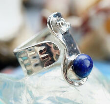 Silberring 57 - 64 Offen Lapis Lazuli Hammerschlag Ring Silber Floral Elegant