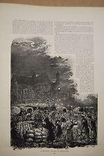 ESTAMPE 19è N&B A.VALNAY HALLES Maraichers Paris typogravure 1886 Gillot