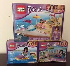 Lego Friends Lot 3 Olivia Speedboat 3937 Emma's Splash Pool & Water Scooter Fun