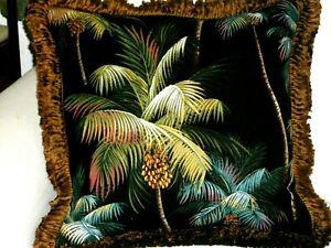 Hawaiian Tropical Cotton Barkcloth Fabric VINTAGE FRINGED PILLOW ~Palm Trees-Blk