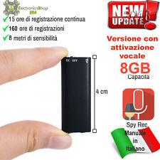 MICRO MINI REGISTRATORE AUDIO ATTIVAZIONE VOCALE 8 GB SPY SPIA AMBIENTALE USB