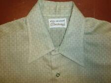 vtg Dacron Van Heusen Century Shirt Longsleeve Button Green Geometric Mod 70s