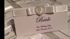 PERSONALISED PEARL HEART WEDDING RECEPTION NAME PLACE CARDS