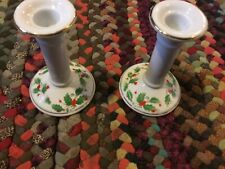 Pair of Vintage Hand Painted Porcelain Candlesticks Christmas Holly & Berries