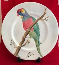 Beautiful Vintage studio pottery plate Depicting A Parrot On A Branch *Signed*