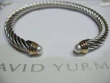 David Yurman 5mm Pearl Cable Bracelet SS & 14K Gold.