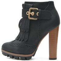 Damen Chelsea Boots Stiefeletten in Schwarz mit Holz Optik Absatz Profil Sohle