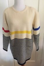 Vtg Adrienne Vittadini Sweater Stripes Lambs Wool Blend M 1990's