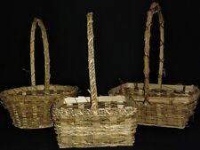Vintage Easter Baskets Rustic Wood Rattan Woven Gathering Set Of 3