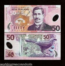 NEW ZEALAND 50 DOLLARS P188 b 2007 KOKAKO BIRD POLYMER UNC MONEY ANIMAL BANKNOTE