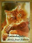 Katzenkalender 2022 mit Aquarellen von Birgit Schneiker DIN A4