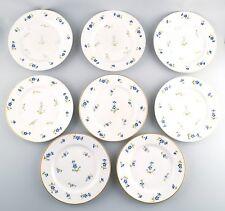 Royal Copenhagen 8 antique blue barberry lunch plates. App. 1890s.