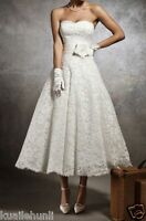 Vintage White/Ivory Lace Tea Length Sweetheart Wedding dress Size6-8-10-12-14-16