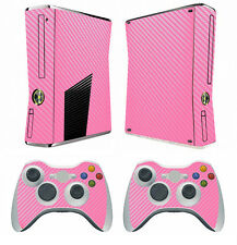 Pink Carbon Fiber Decal Skin Sticker for Xbox360 slim and 2 controller skins