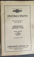 1922 Chevrolet Four Ninety & Superior Models Instructions Operation and Care