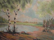Antique impressionist landscape lake gouache painting
