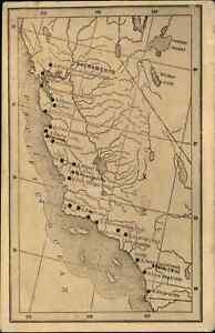 Calfornia Map West Coast Cities c1910 Postcard