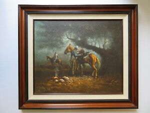 "Listed Western Artist ""John Stanford"" Original Western Oil on Canvas (Framed)"