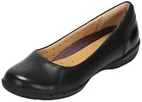 Clarks Ladies Shoes UN HEARTH Black Leather Casual Slip On Style