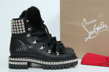 sz 9.5 / 40 Christian Louboutin Yeti Donna Shearling Trimmed Leather Boot Shoes