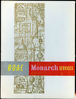 Vintage BOAC-British Overseas Airways-Airline Menu-Drinks-Monarch Services