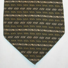NEW Oscar de la Renta Silk Neck Tie Dark Green w Light Green Beige Pattern 1112