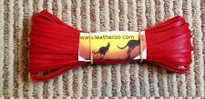 """Kangaroo Lace RED Kangaroo Leather Lacing (3.0mm 1/8"""" Width) 20 meter hank"""