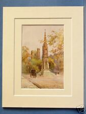 MARTYRS' MEMORIAL AND ST. GILES OXFORD VINTAGE DOUBLE MOUNTED HASLEHUST PRINT