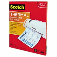 3M SCOTCH THERMAL LAMINATOR LAMINATING FILM POUCHES LETTER SIZE 3mm - 100 Ct.