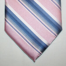 NEW Haggar Silk Neck Tie Pink with Blue Gray and White Stripes 599