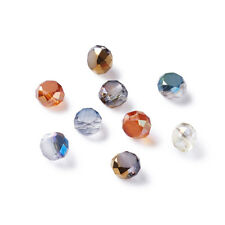 50x Faceted Flat Round Electroplate Glass Bead Strand Mixed Color 4x3mm Hole 1mm