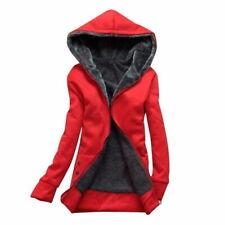 Women Casual Hooded Jacket Coat Zip Hoodie Sweatshirt Red T2