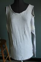 Women's MPG Gray/White Long Sleeve Cold Shoulder Activewear Top Size L