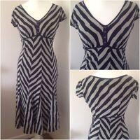 Per Una Navy & Grey Striped Fit And Flare Jersey Midi Dress Size 12 Medium