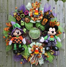 "DISNEY HALLOWEEN MICKEY & MINNIE  ""HAPPY HALLOWEEN"" PLAQUE~JACK A LANTERN WREATH"