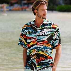 Jams World Retro Shirt Mens Size M Black Jack Print Honolulu Rayon Collar Button