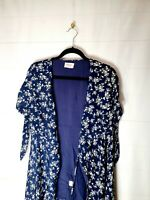 SHOWPO Size 10 Navy Floral Tie Sleeve Wrap Picnic Dress Maxi Spring Flowy Slits