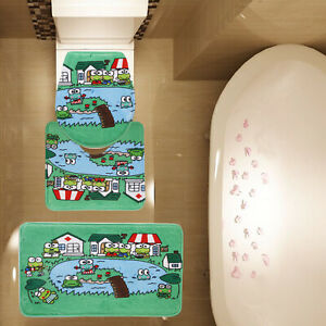 3 Piece Bathroom Mat Set 10 Green Cute Frogs Bath Mat Contour Mat Toilet Cover