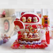 Large Oversize Ceramic Lucky Cat Piggy Bank Big Open Mouth 6 Small Cats Ornament