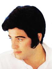 NERO Parrucca Elvis con QUIFF e laterali BRUCIA Danny Greese Costume