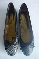 New MASCARO Ballerina Ballet Flat Shoes Tartan Plaid Metallic Leather 40 UK 6.5