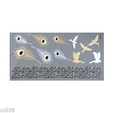 ►TATOUAGE METALLIQUE TEMPORAIRE OR : Plume, oiseaux (éphémère,faux tattoo)◄