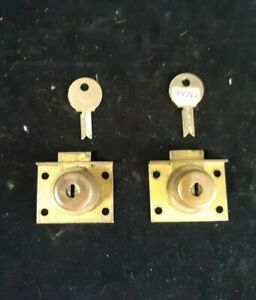 Original 2 Mills Slot Machine Locks w/2 Key, Old Antique Coin-Op Parts