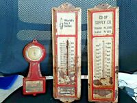 Lot of 3 Metal vintage thermometer advertising Champion Spark Plugs Co-op supply
