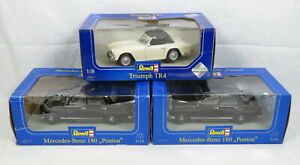Lot 3 Revell Diecast Metal Cars 1:18 Scale Mercedes-Benz 180 Ponton Triumph TR4