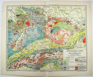 Original 1905 Geological Map of Germany by Meyers. Antique