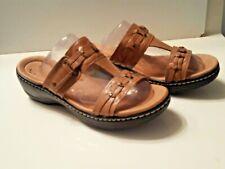 Clarks Soft Cushion Women 10M Tan Slip On Soft Cushioned Sole Sandal   /1