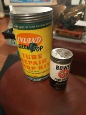 2-  Vtg INLAND GREEN TOP TUBE REPAIR KIT Can Gas Oil Service Station Bowes lot